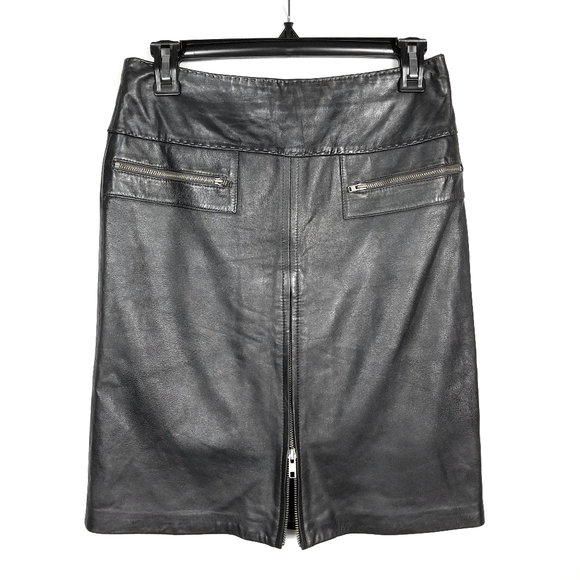 Cache Gray Leather Zip Front Pencil Skirt